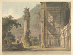 'Ekvera'.  Coloured aquatint by Thomas Daniell after James Wales.  Plate 6 of  [Antiquities of India], published by T Daniell, London, 1803.